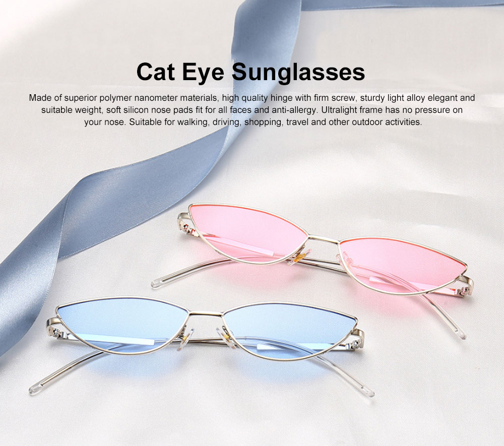 Metal Frame Cat Eye Sunglasses for Women, UV Protection Anti-glare Sunglasses Light Weight HD Lady Sunglasses 0