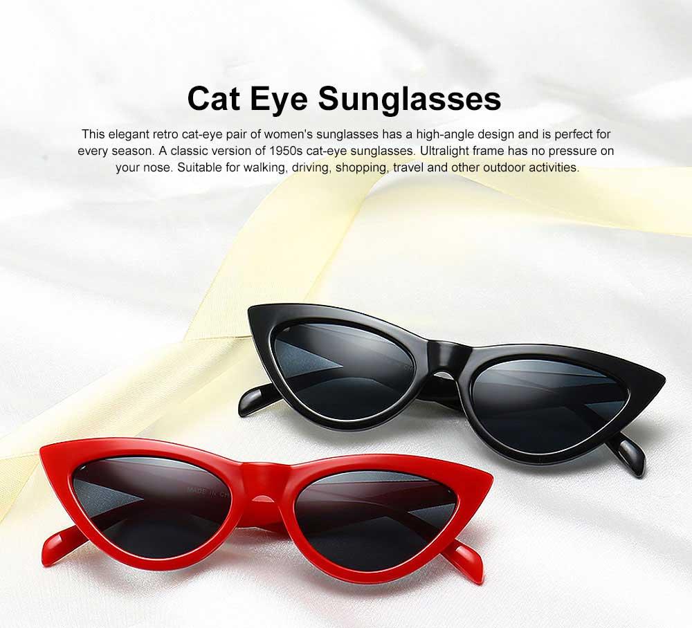 Plastic Frame Cat Sunglasses for Women, Narrow Frame Sun Glasses UV400 Protection Light Weight Lady Sunglasses 2019 0