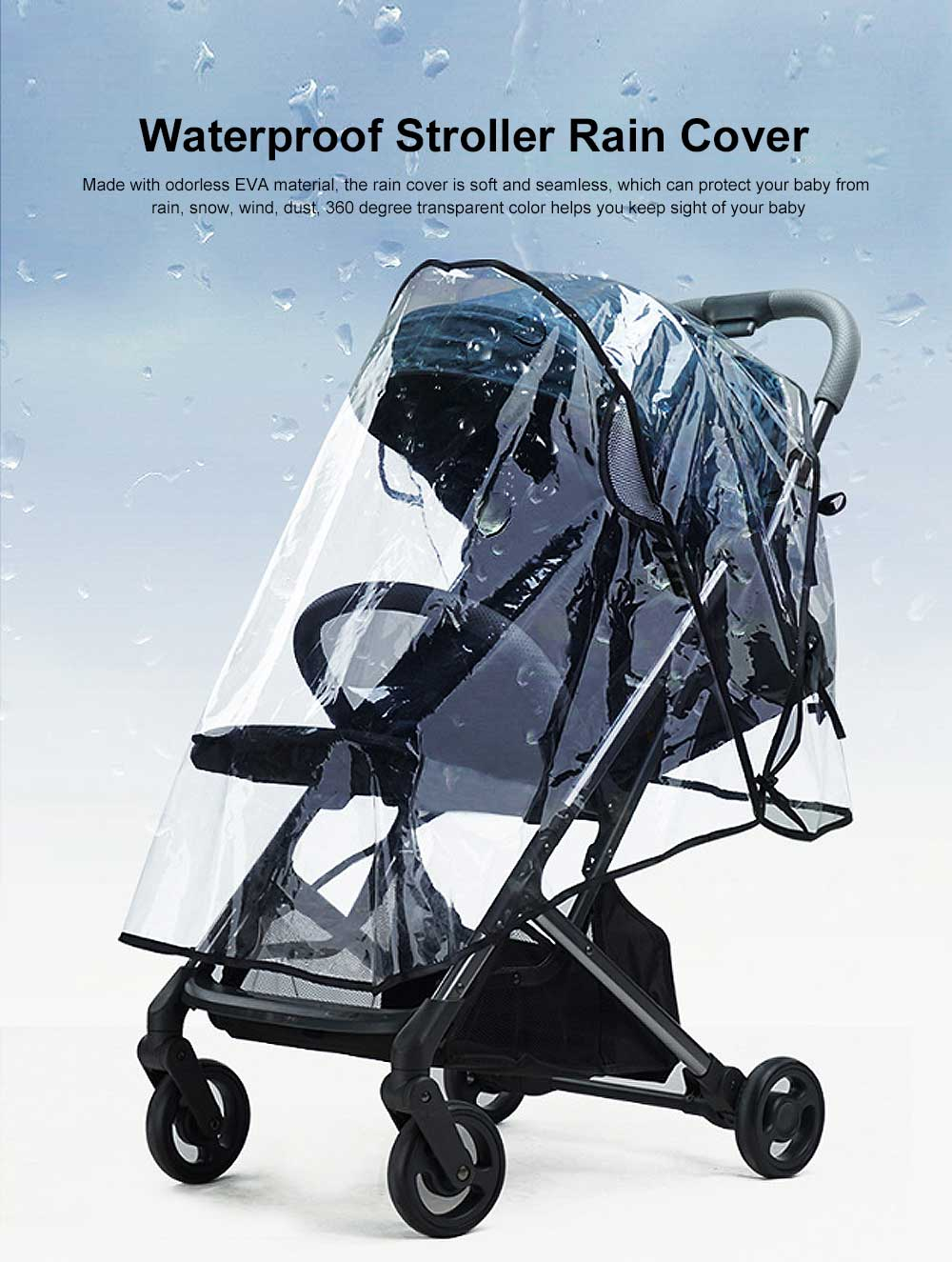 Baby Stroller Rain Cover Waterproof Windproof Protection Travel-Friendly Breathable baby cart umbrella for Outdoor Use Transparent 9