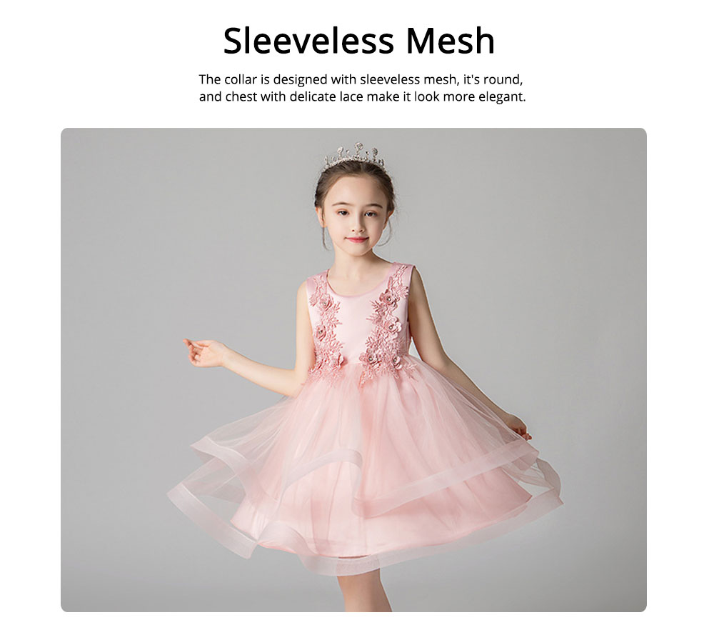 Child Evening Dress Skirt Polyester Cotton Material Round Collar Petticoat Double-layer Mesh under-dress for 3 to 8 Years Girls Spring Summer Formal Dress 1