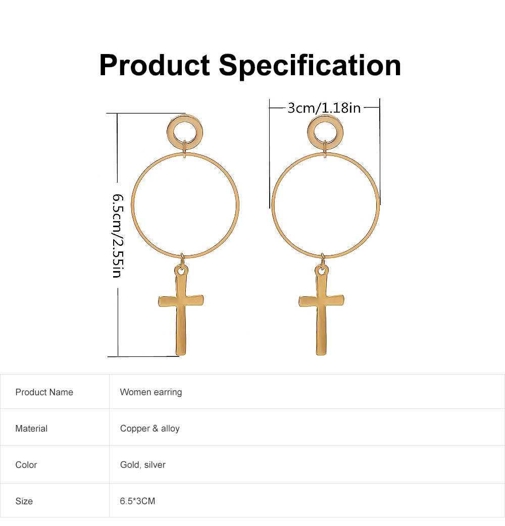 Copper Cross Pendant Earring, Gold Plated Retro Circle Vintage Layered Jewelry for Women 6