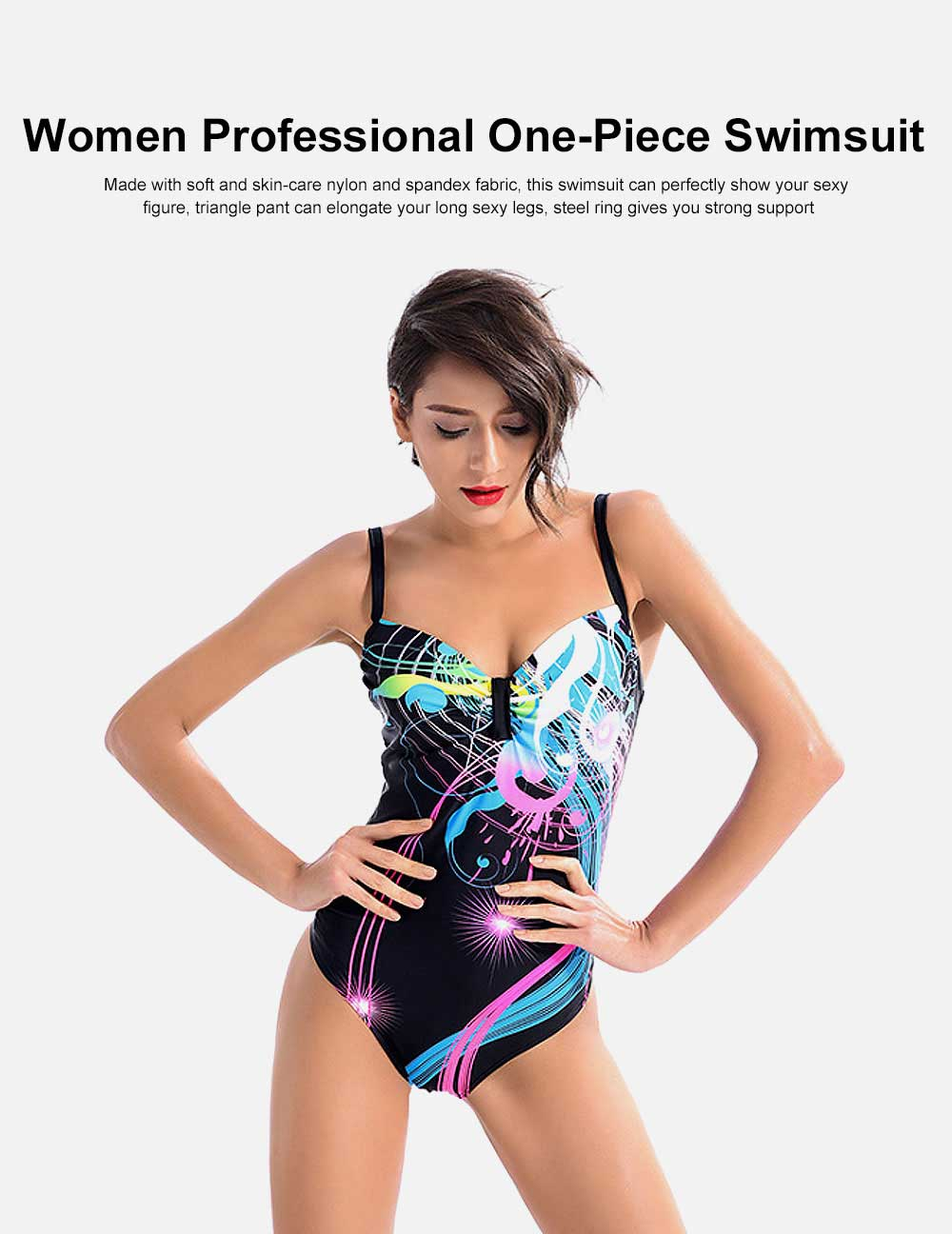 Ladies one piece swimwear swimming costume in sizes 10-20 black//white contrast.