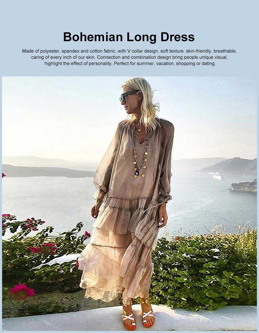 V-neck Ruffled Long-sleeve Resort Boho Dress for Vocation, Bohemian Long Dress, Lantern Sleeve Lotus Leaf Dress Hem Combination Design for Summer Autumn Dress 2019 0