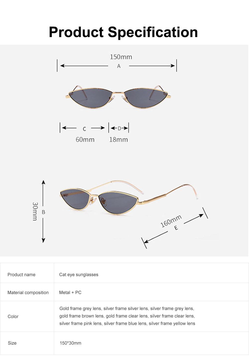Metal Frame Cat Eye Sunglasses for Women, UV Protection Anti-glare Sunglasses Light Weight HD Lady Sunglasses 6