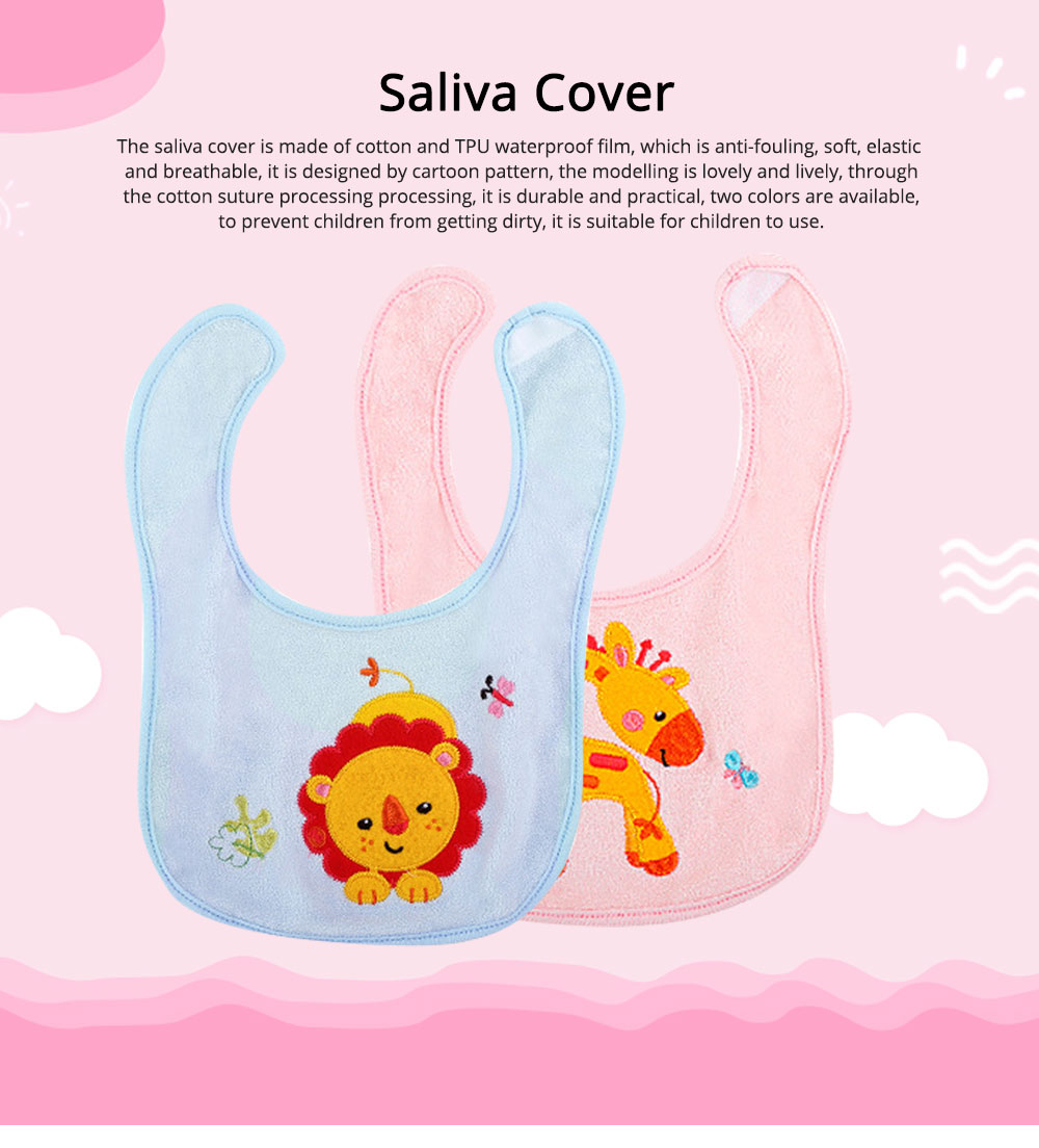 Saliva Cover Cotton TPU Material, Waterproof Spit Bib for Baby Avoid Dirt with Cute Pattern Design Breathable Baby Bib 0