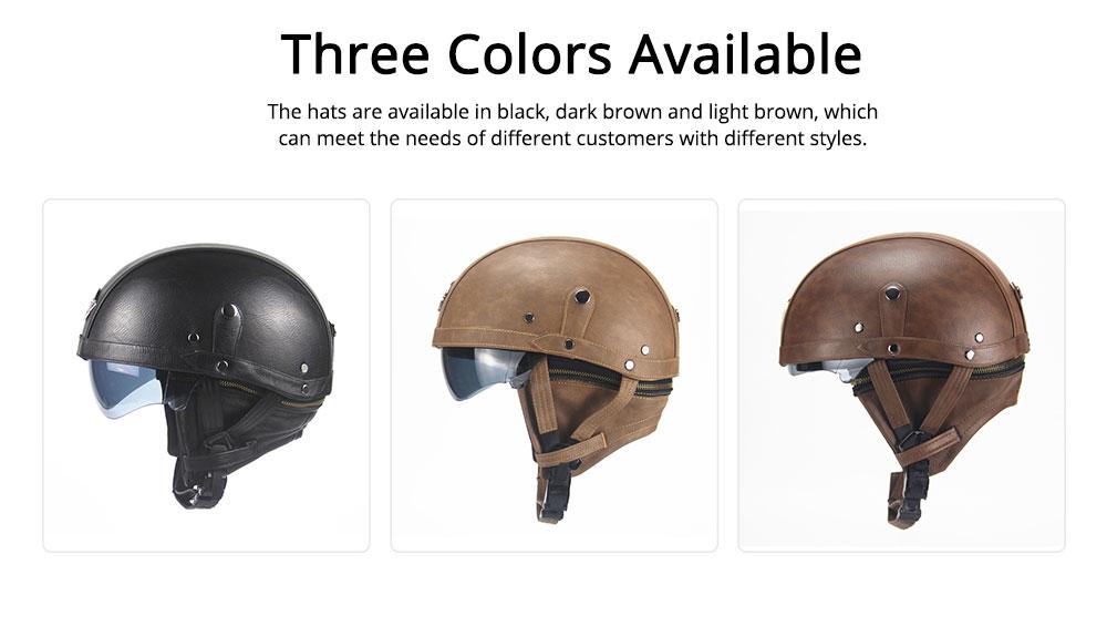 Half-head Helmet ABS PU Material Breathable Buffer Helm Moisture Absorption Headgear Safe for Harley Riding for Men Women Anti-ultraviolet Cap Anti-glare Headpiece Safe Hat 4