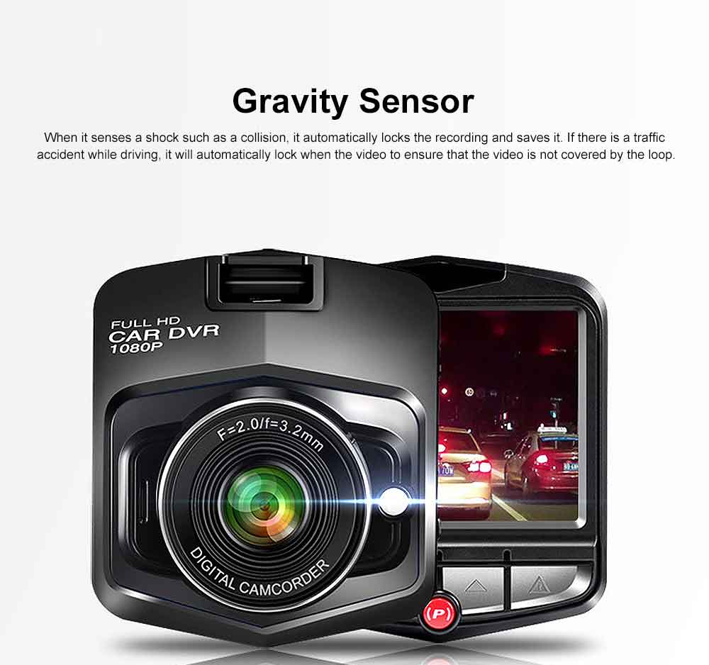 Automobile On-board Vehicle Data Recorder 2.4 Inch, 1080P Wide Angle Dashboard Camera, 32GB TF Card Support Vehicle Data Recorder 3