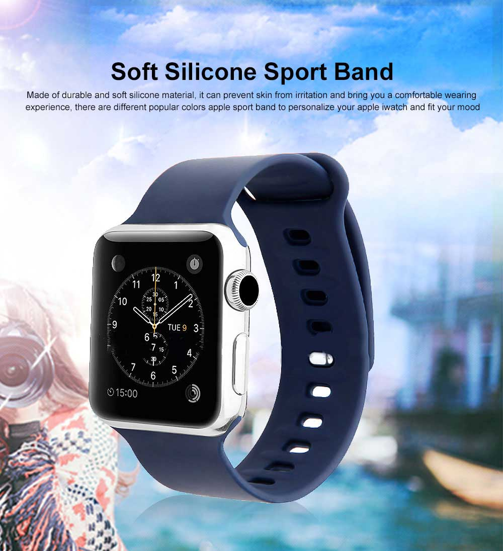 Thin Watch Band Soft Silicone Sport Bands Replacement Strap Compatible with Apple Watch 42mm 38mm 0