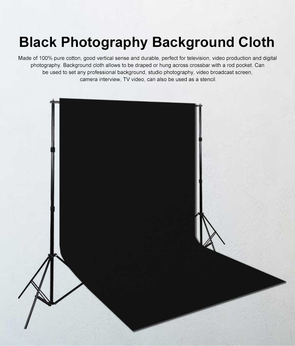 Black Photography Background Cloth 100% Cotton for Studio or Outdoors Photography 3*3.6m 0