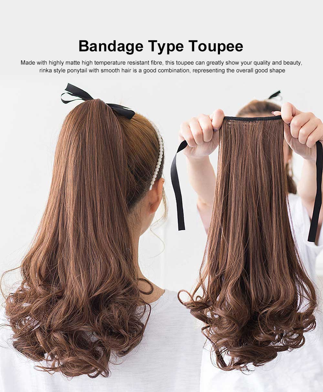 Bandage Type Korean Style Toupee Rinka, Ponytail Curved Hair for Lady, Elegant High Temperature Resistant Stylish Wig 0