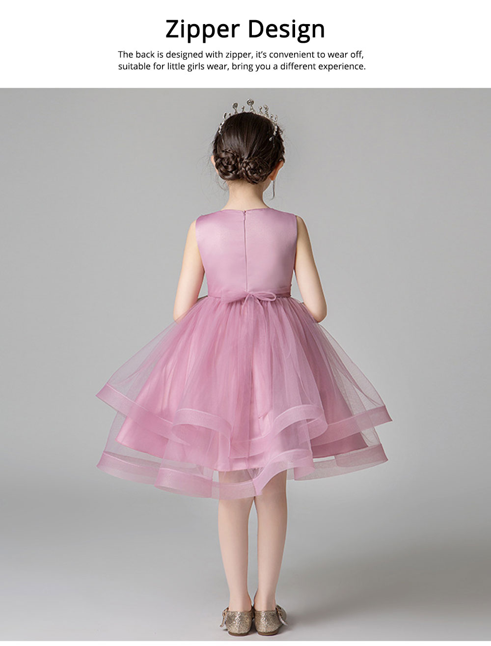 Child Evening Dress Skirt Polyester Cotton Material Round Collar Petticoat Double-layer Mesh under-dress for 3 to 8 Years Girls Spring Summer Formal Dress 2