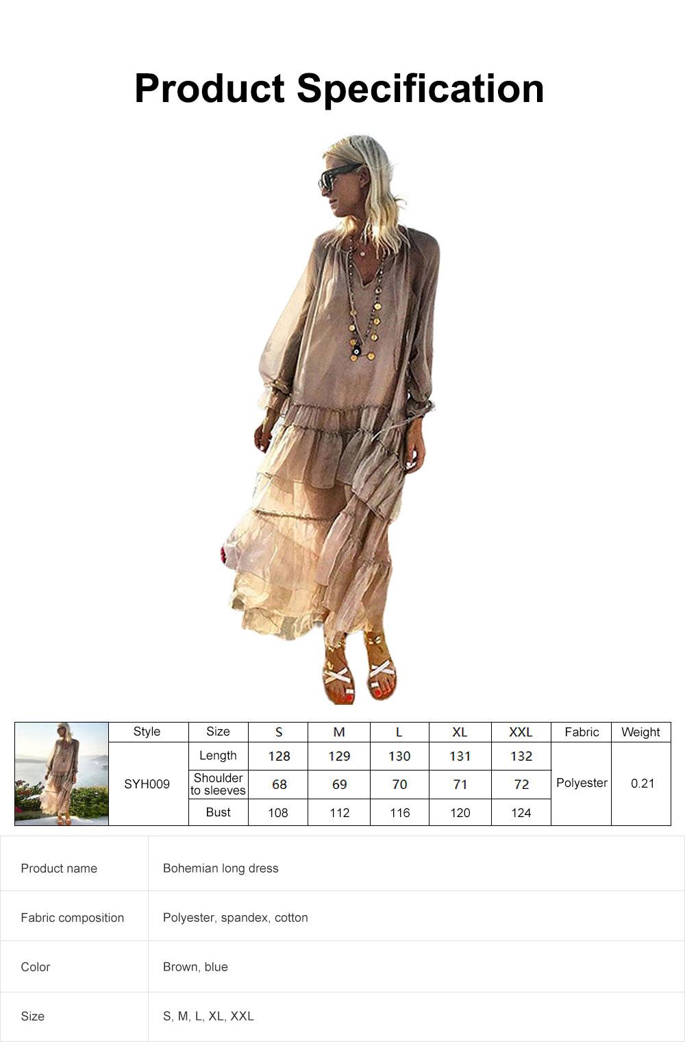 V-neck Ruffled Long-sleeve Resort Boho Dress for Vocation, Bohemian Long Dress, Lantern Sleeve Lotus Leaf Dress Hem Combination Design for Summer Autumn Dress 2019 6