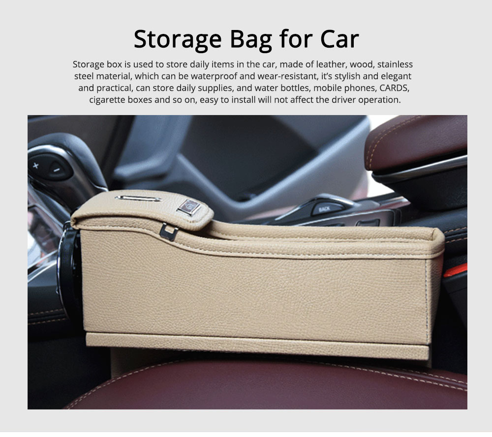 Storage Bag Leather Material Slot Installation Pack Box for Car Both Driver Copilot Store Bottle Phone Multiple Functions Container 0