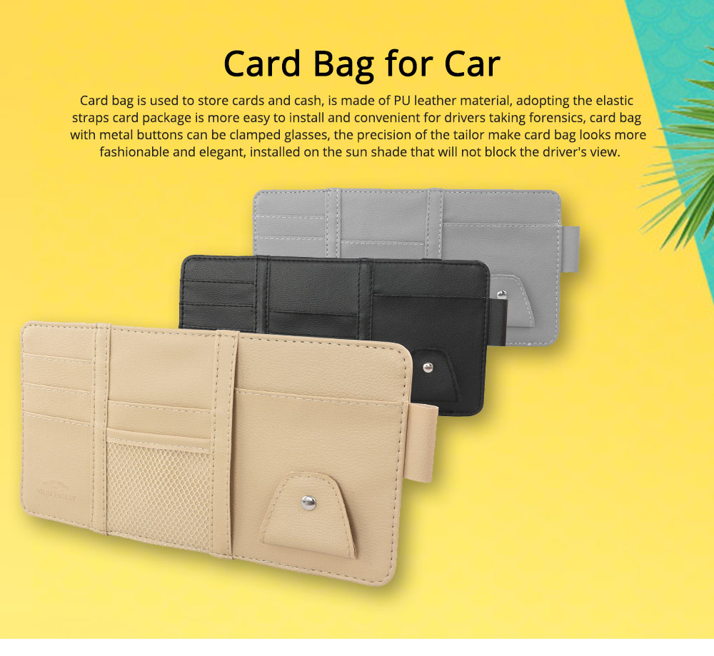 Card Bag PU Leather Material with Pockets Elastics Straps Collection for Store Cards Cash on Sun Shade of Car Storage Bag 0
