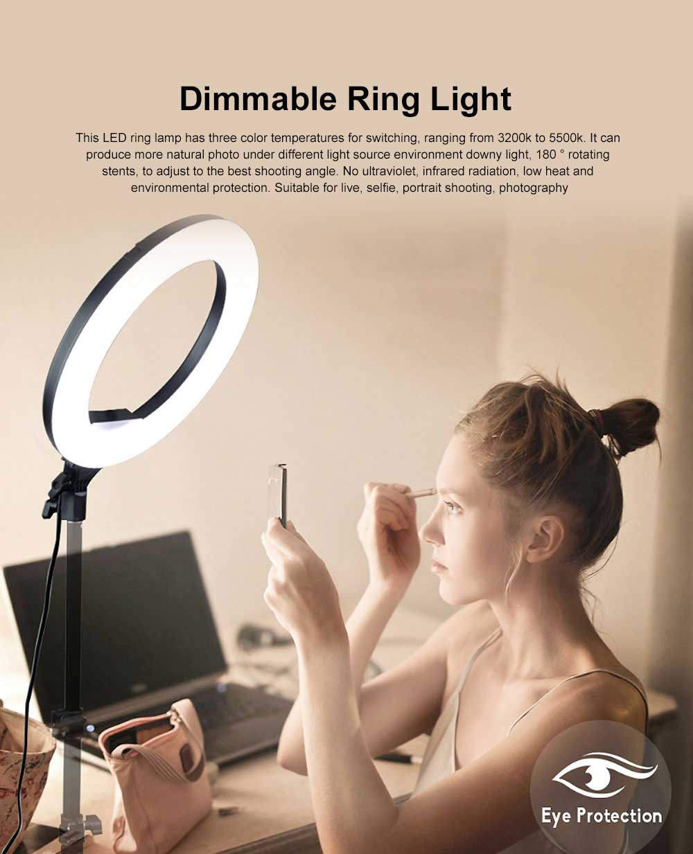 Selfie Desktop Ring Light, Dimmable Ring Light for YouTube Live Streaming, Portrait Photography LED Round Fill Light 12 inches 0