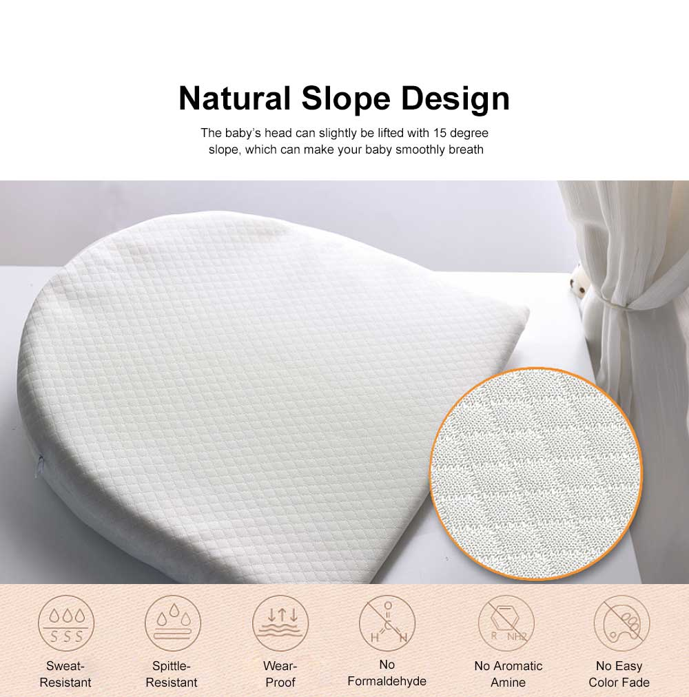Baby Pillow with 15 Degree Slope Design Milk Spill Prevention Memory Foam Built-In Wedge Shape Newborn feeding Pillow Waterproof Cover 1