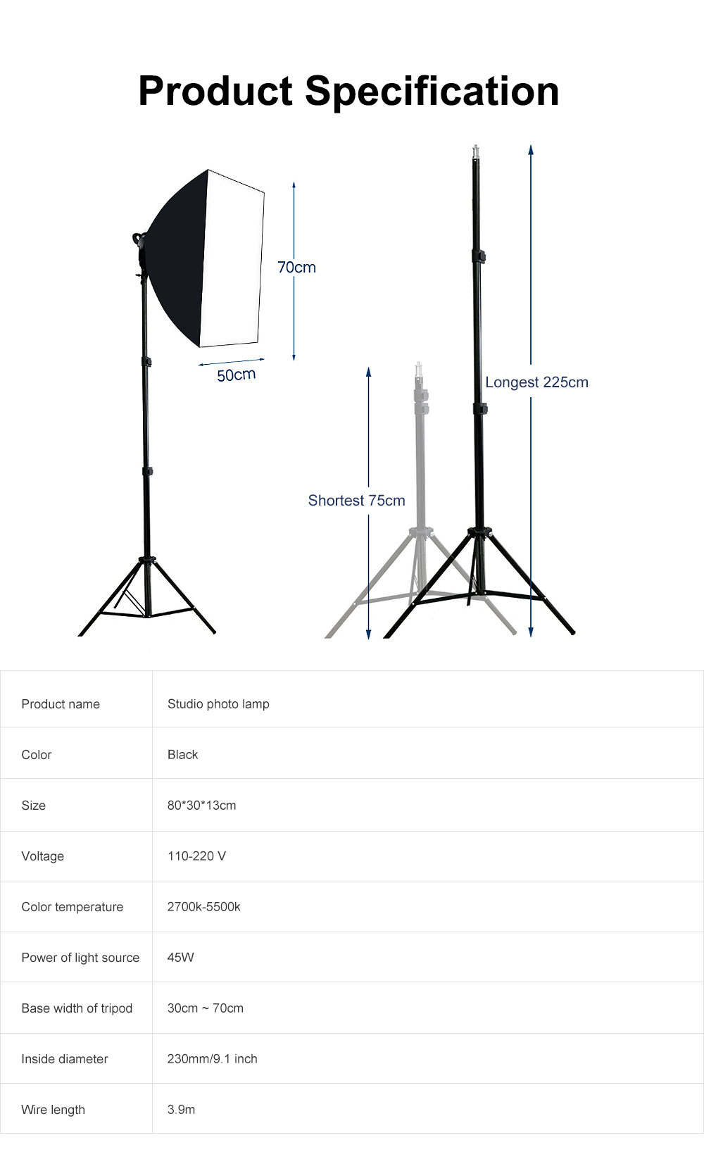 Studio Photo Lamp with Adjustable Dual Color Temperature, Soft Light Lighting Kit for Home & Studio 5