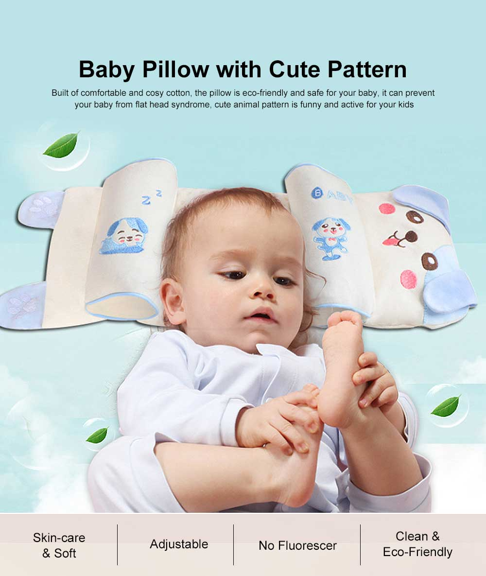 Delicate Baby Pillow with Cute Animal Pattern, Flat Head Prevention Baby Pillow, Four Layered Design 16 cm Adjustment Removable Baby Pillow 0