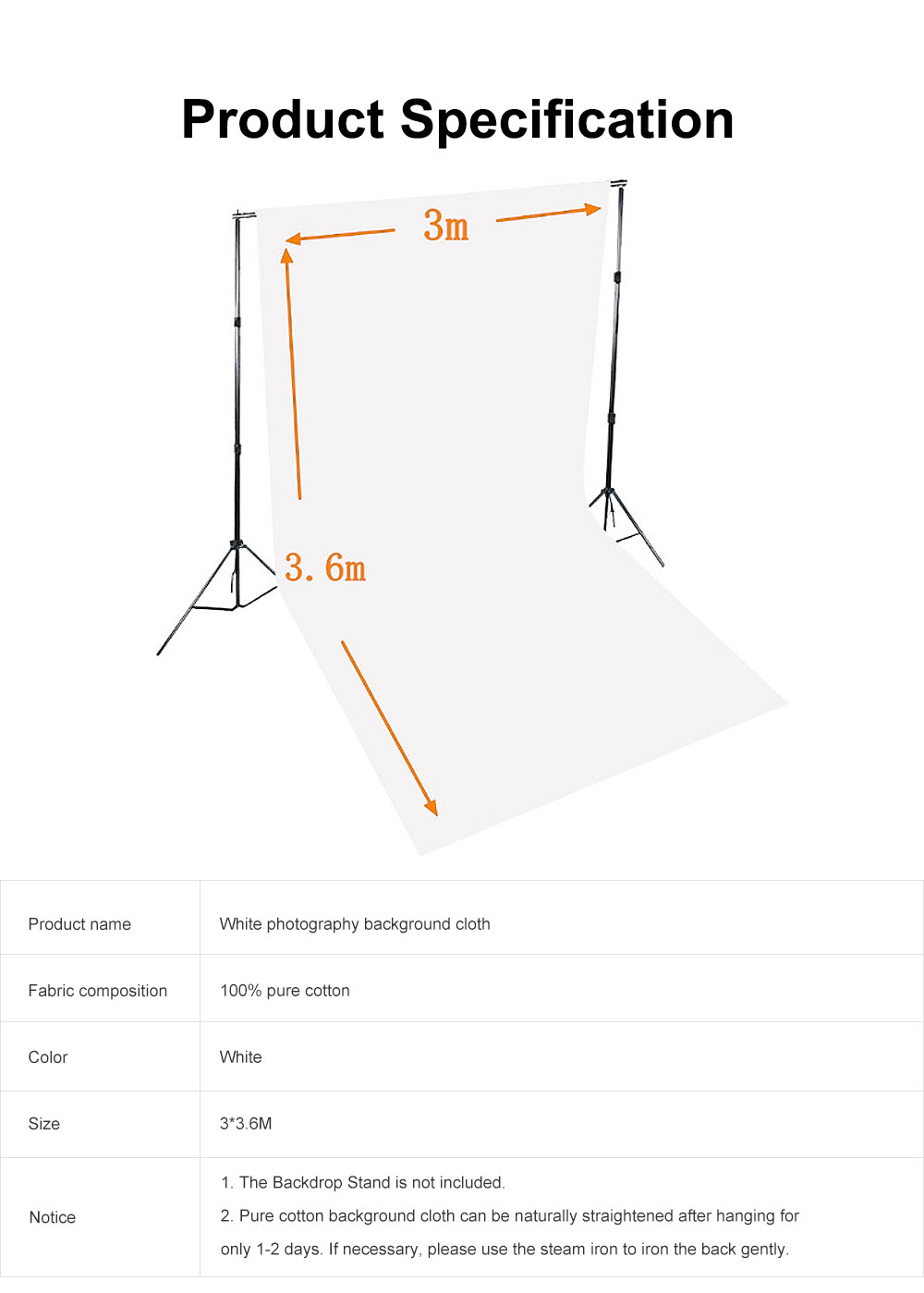 White Photography Background Cloth 100% Cotton for Studio or Outdoors 3*3.6m 5