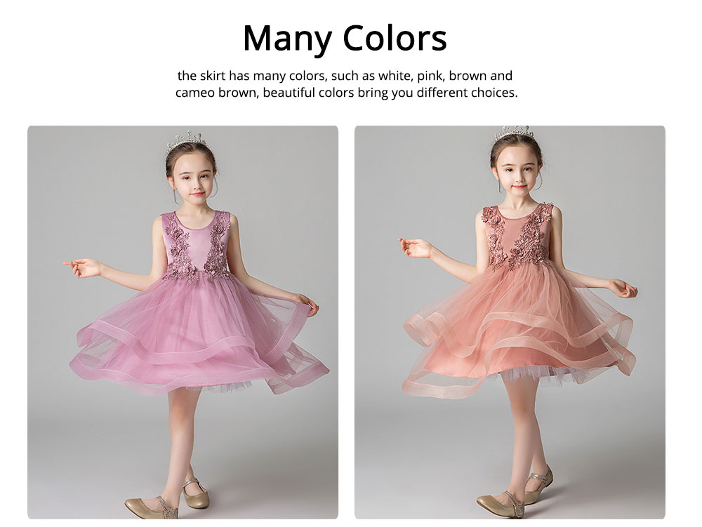 Child Evening Dress Skirt Polyester Cotton Material Round Collar Petticoat Double-layer Mesh under-dress for 3 to 8 Years Girls Spring Summer Formal Dress 5