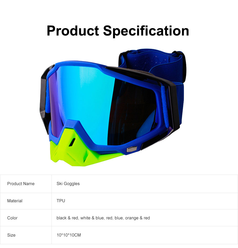 Ski Goggles Motorcycle Harley Goggle Over Glasses with Anti-Fog sand-proof mask Sport equipment Glasses Dual Interchangable Lens for Men Women 6