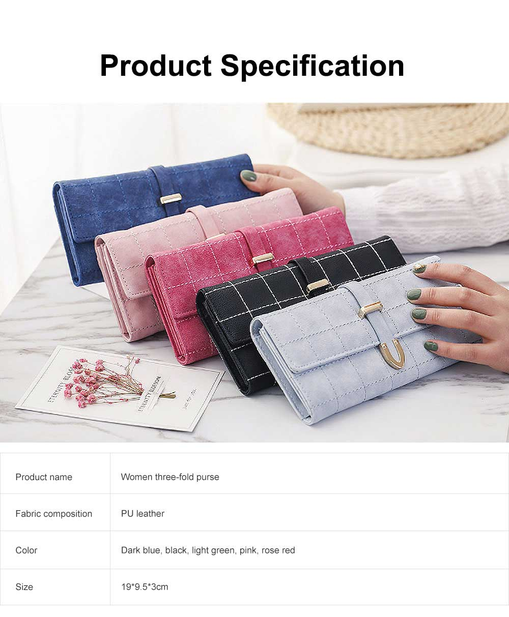 Multi-function Soft Women Purse with Buckle, Fashion Ladies Casual Clutch Bag, Frosted Three-fold Long Purse for Women Girl Lady 5