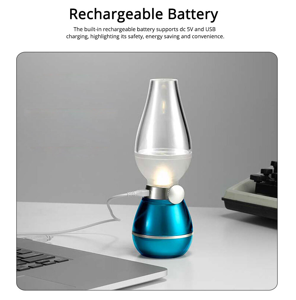 Retro LED Blowing Light ABS Acrylic PS Material Adjustable Brightness Light by Blowing Turn on or Off Light USB Rechargeable Lamp 3
