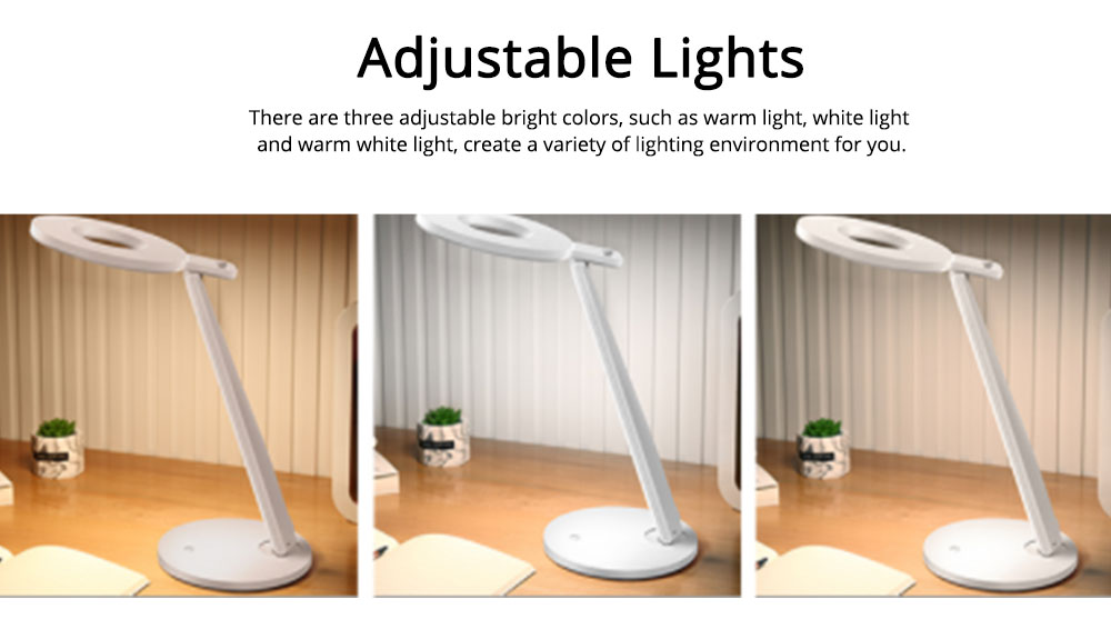 Led Desk Lamp ABS Material Adjustable Brightness Colors Large Light Area Touching Switch Light USB Rechargeable Folding Lamp 6