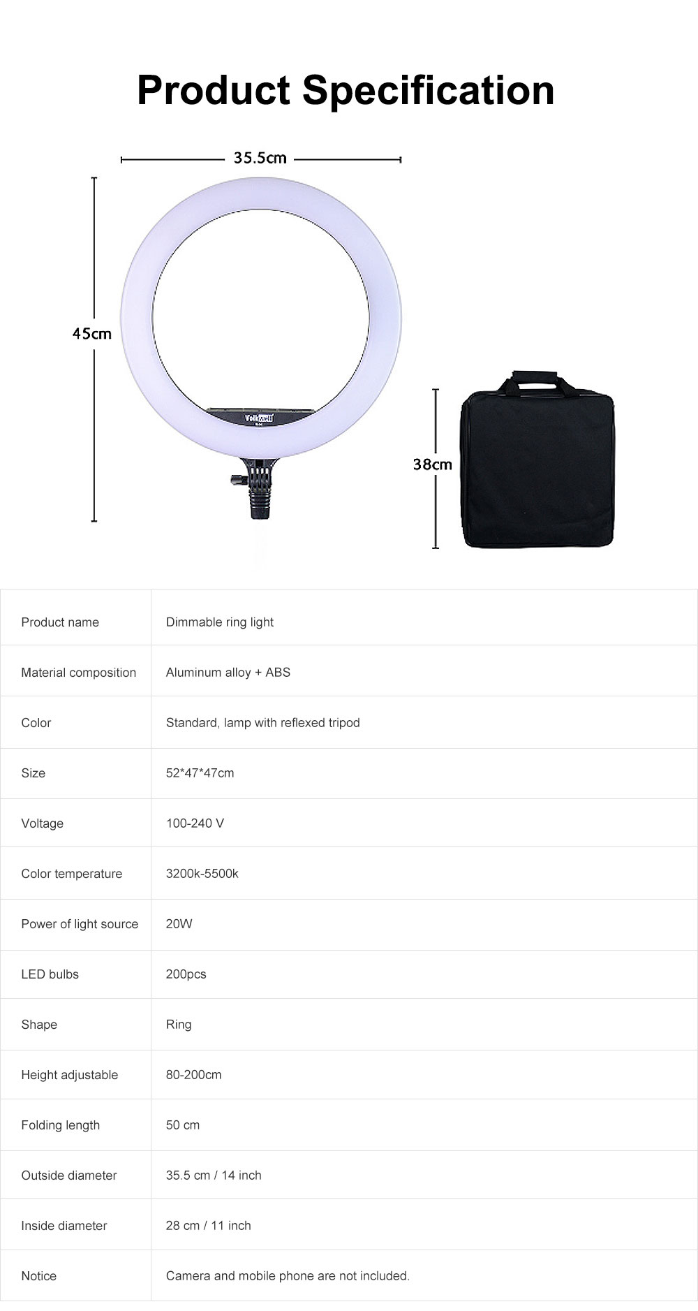 Selfie Desktop Ring Light, Dimmable Ring Light for YouTube Live Streaming, Portrait Photography, LED Round Fill Light 14 inches 5