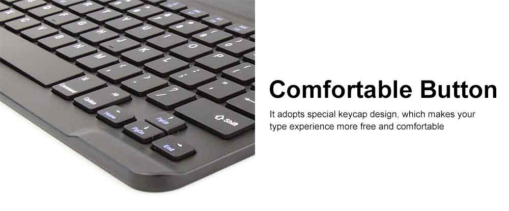 Ultra-Slim Bluetooth Keyboard Durable Plastic with Comfortable Keycap for iPad Air, iPad Mini, iPhone 4