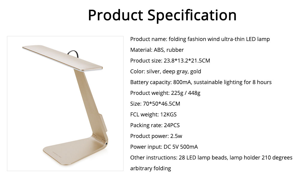 Folding Stylish Desk LED Lamp Ultra Slim ABS Rubber Material Folding Lamp Long Stand by Anti-paint Light USB Rechargeable LED Light for Student Dormitory 8