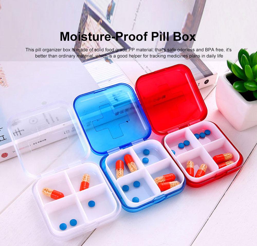 Portable Small Pill Organizer Case, Moisture-proof Pill Box for Vitamins, Fish Oil, Supplements Medication Medicine Case 0