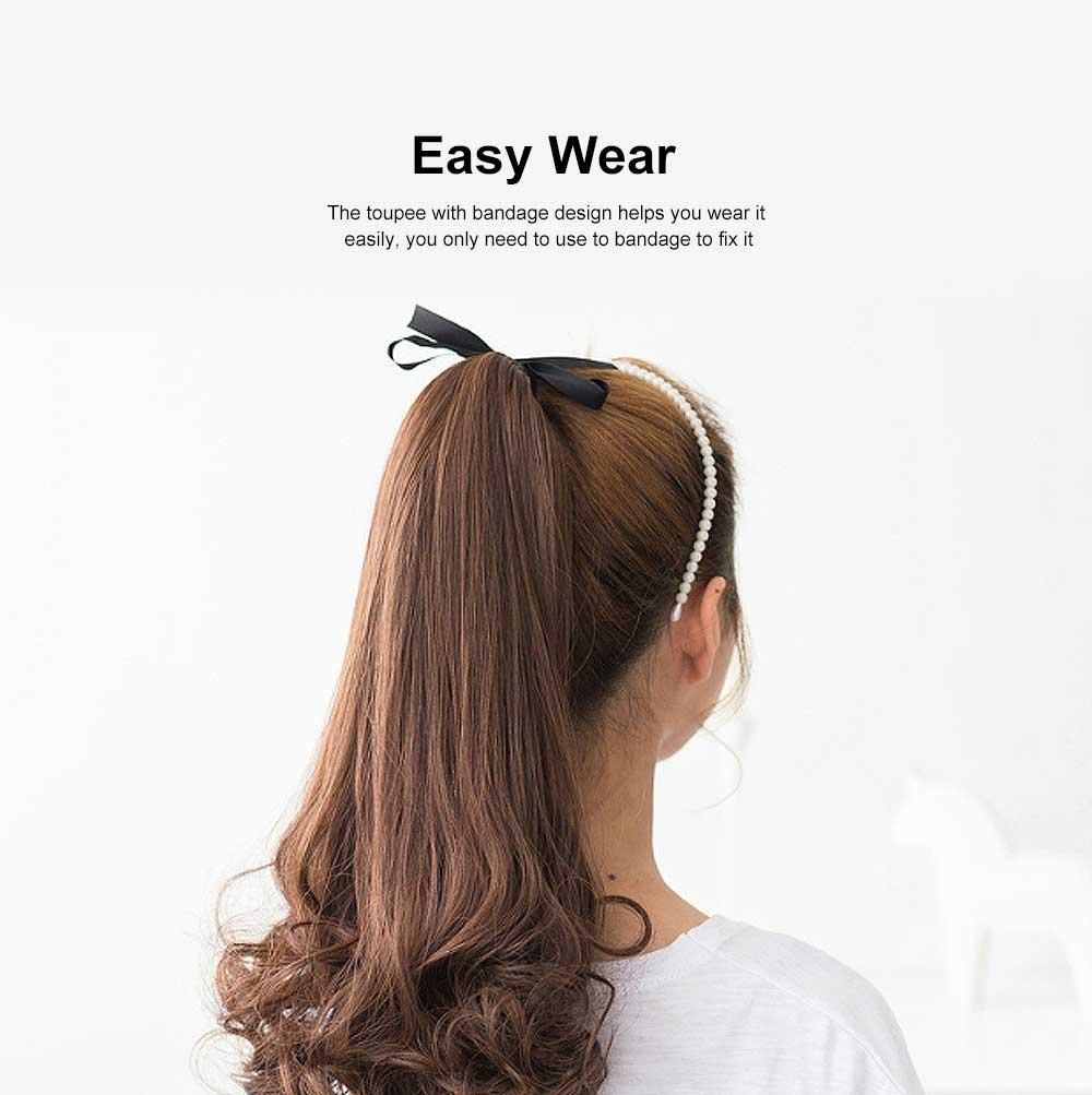 Bandage Type Korean Style Toupee Rinka, Ponytail Curved Hair for Lady, Elegant High Temperature Resistant Stylish Wig 2