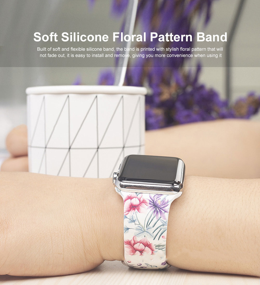 Floral Pattern Band for Women Men, Soft Silicone Watch Strap for Apple Watch Series 38 42 Replacement Strap  0