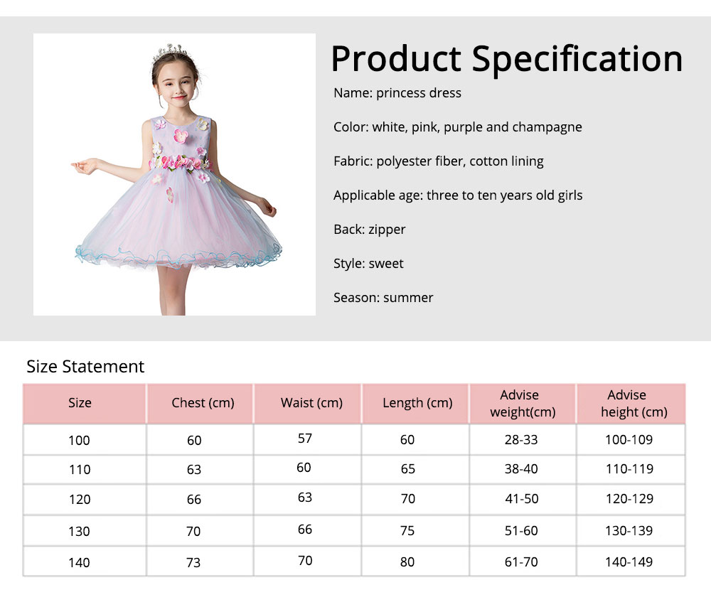 Girl Formal Dress, Polyester Cotton Material Sleeveless Fluffy Skirt with Round Collar, Under-dress, One-piece Dress for Three to Ten Years Girls in Summer Petticoat 7