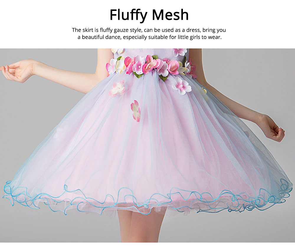 Girl Formal Dress, Polyester Cotton Material Sleeveless Fluffy Skirt with Round Collar, Under-dress, One-piece Dress for Three to Ten Years Girls in Summer Petticoat 6