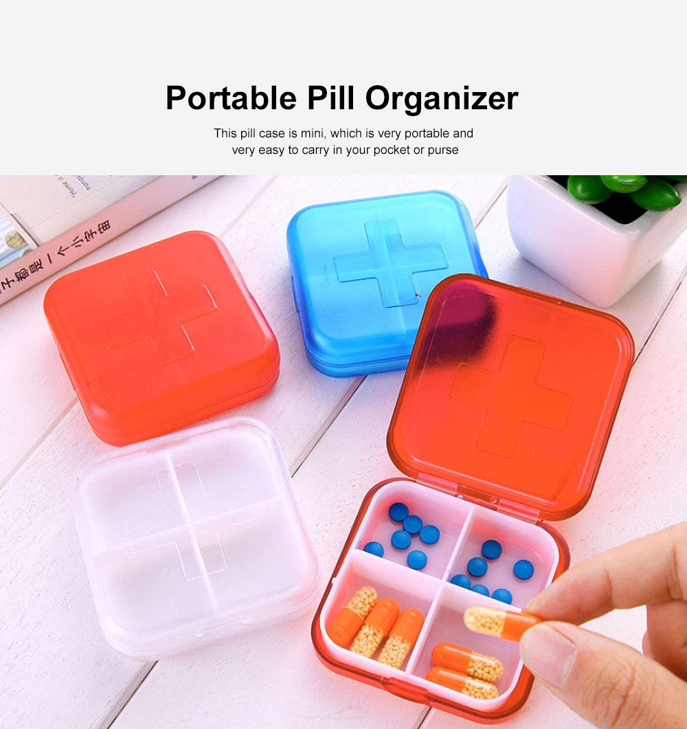 Portable Small Pill Organizer Case, Moisture-proof Pill Box for Vitamins, Fish Oil, Supplements Medication Medicine Case 2