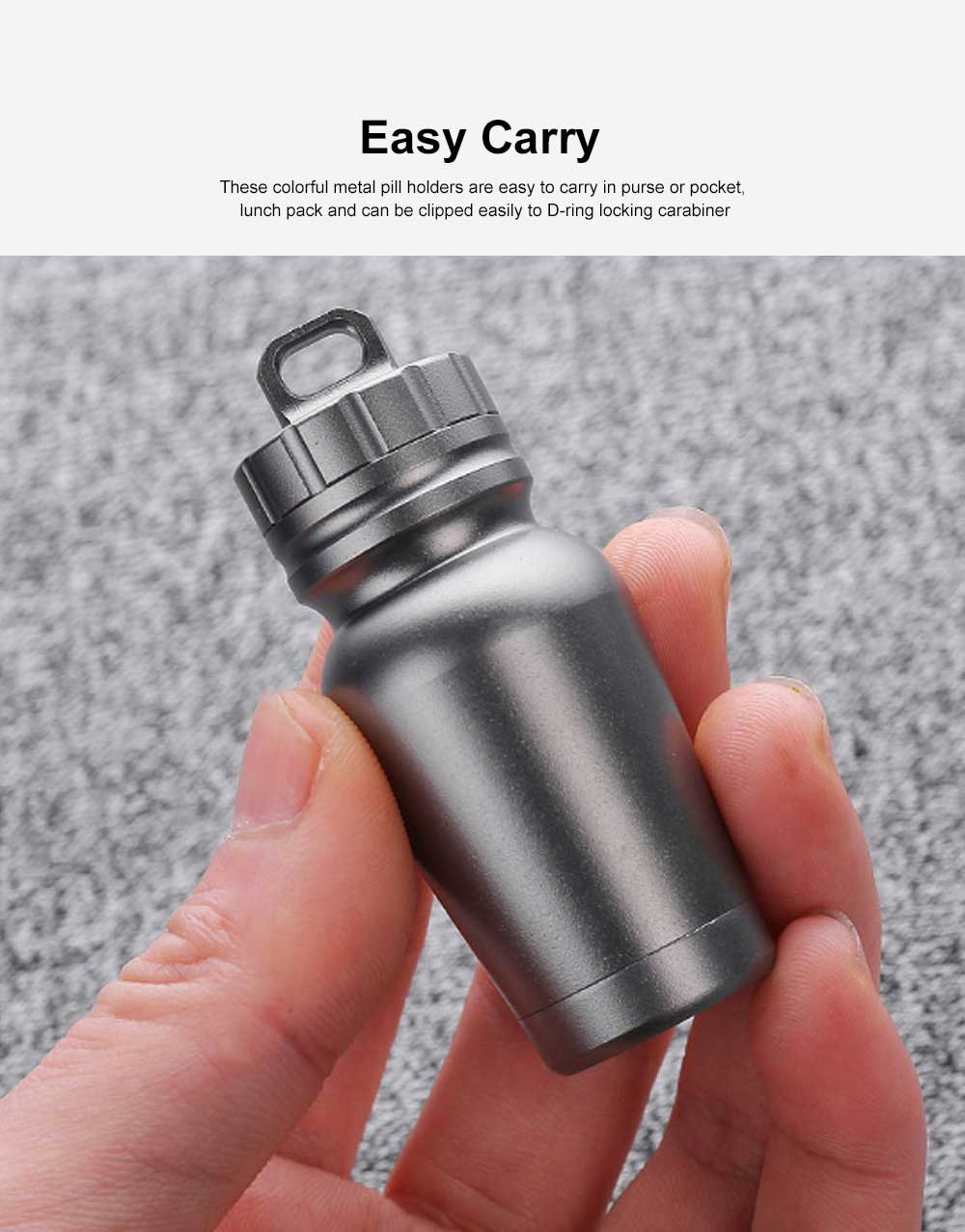 Pill Box Keychain Waterproof Single Chamber Aluminum Alloy Pill Organizer for Outdoor Travel Camping 1