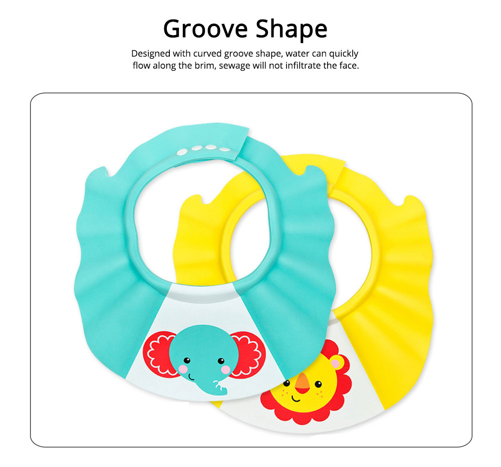 Shampoo Hat EVA Material with Telescopic Buckle, Lovable Cartoon Style Bath Hat for Children Avoiding Water, Groove Design Functional Shampoo Cap 3
