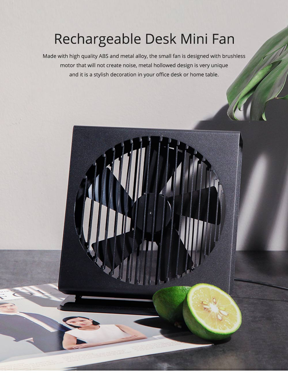 USB Rechargeable Desk Mini Fan with 90 Degrees Rotation, Strong Motion Compact Fan for Dorm Office Home 7 inches  0