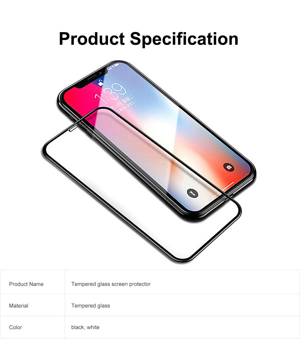 Tempered Glass Screen Protector Full Screen Coverage, Anti-Fingerprint Bubble Free Protector for iPhone X or XS, iPhone XR, iPhone XS Max, iPhone7 or 8, iPhone 7 or 8 plus, iPhone 6 or 6S, iPhone 6S plus 6