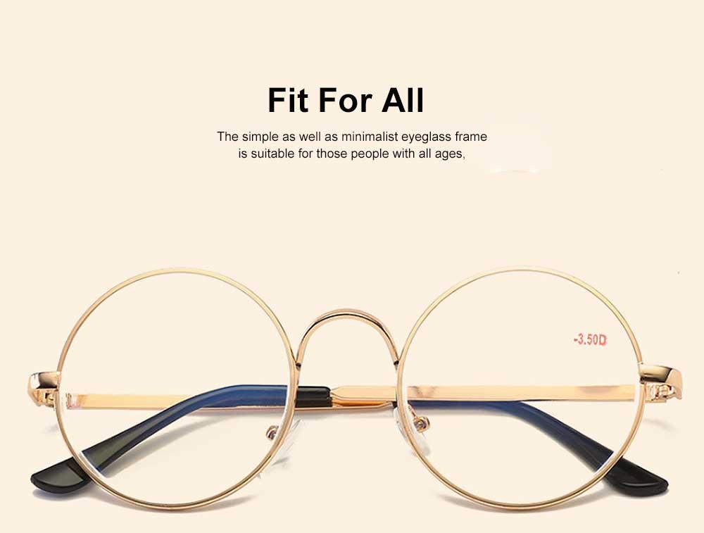 Round Metal Optical Eyewear, Retro Metal Frame Spectacles Frame, Vintage Lightweight Glasses Frame for Men Women 1
