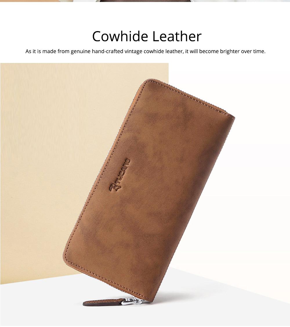 Cowhide Leather Long Wallet with Zipper RFID Blocking, Vintage Bifold Clutch for Men Retro Handbag 1