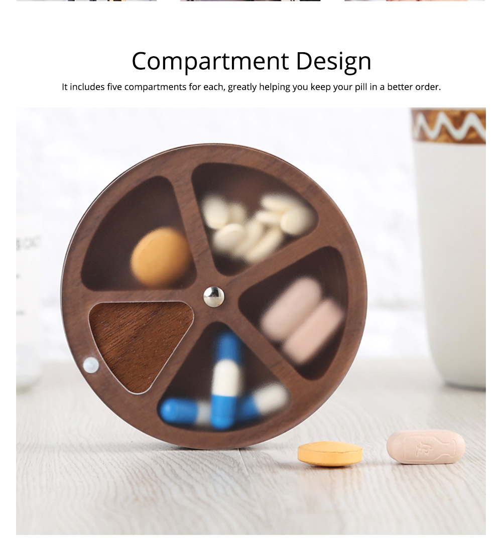 Wooden Pill Box with Beech Acrylic Sealed, Portable Pill Organizer with Compartments Domestic Use Pill Storage Case 8