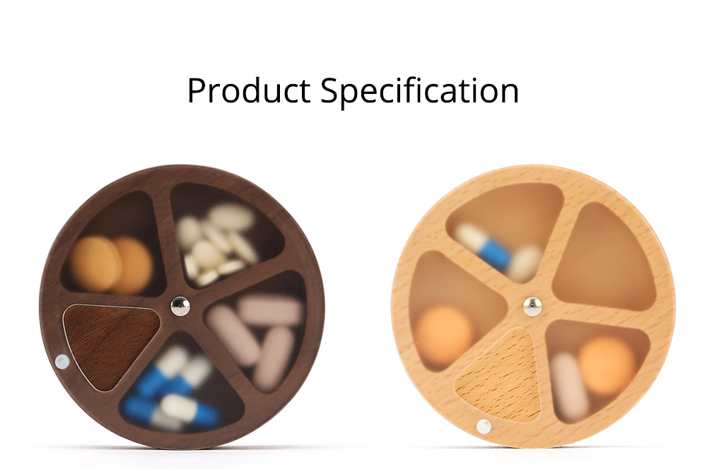 Wooden Pill Box with Beech Acrylic Sealed, Portable Pill Organizer with Compartments Domestic Use Pill Storage Case 11