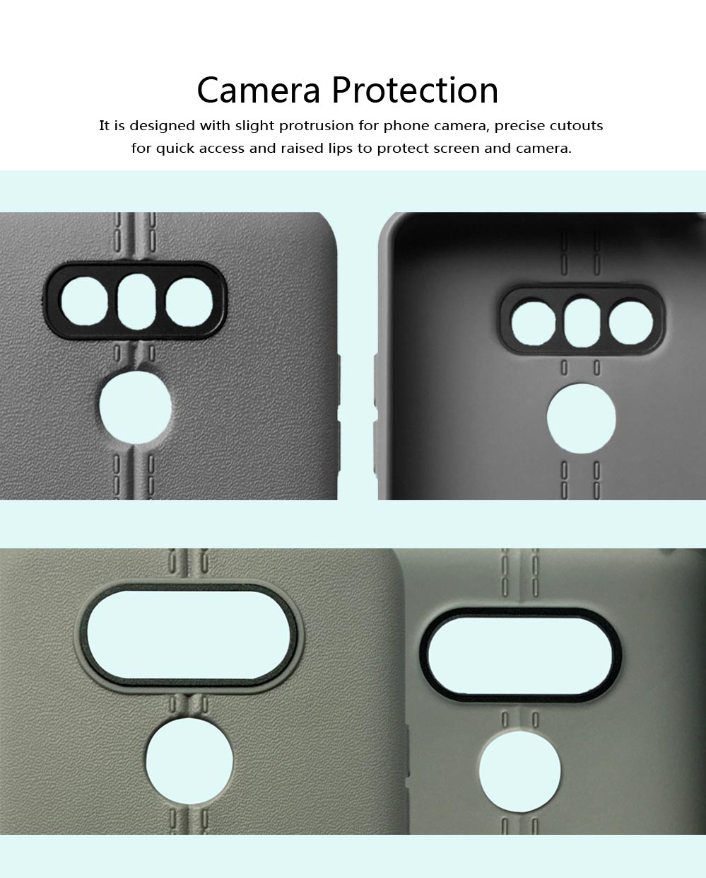 Double Line Phone Protector Case for LG G4 G6, Solid Color Anti-Fall Phone Cover, Minimalist TPU Back Cover 4