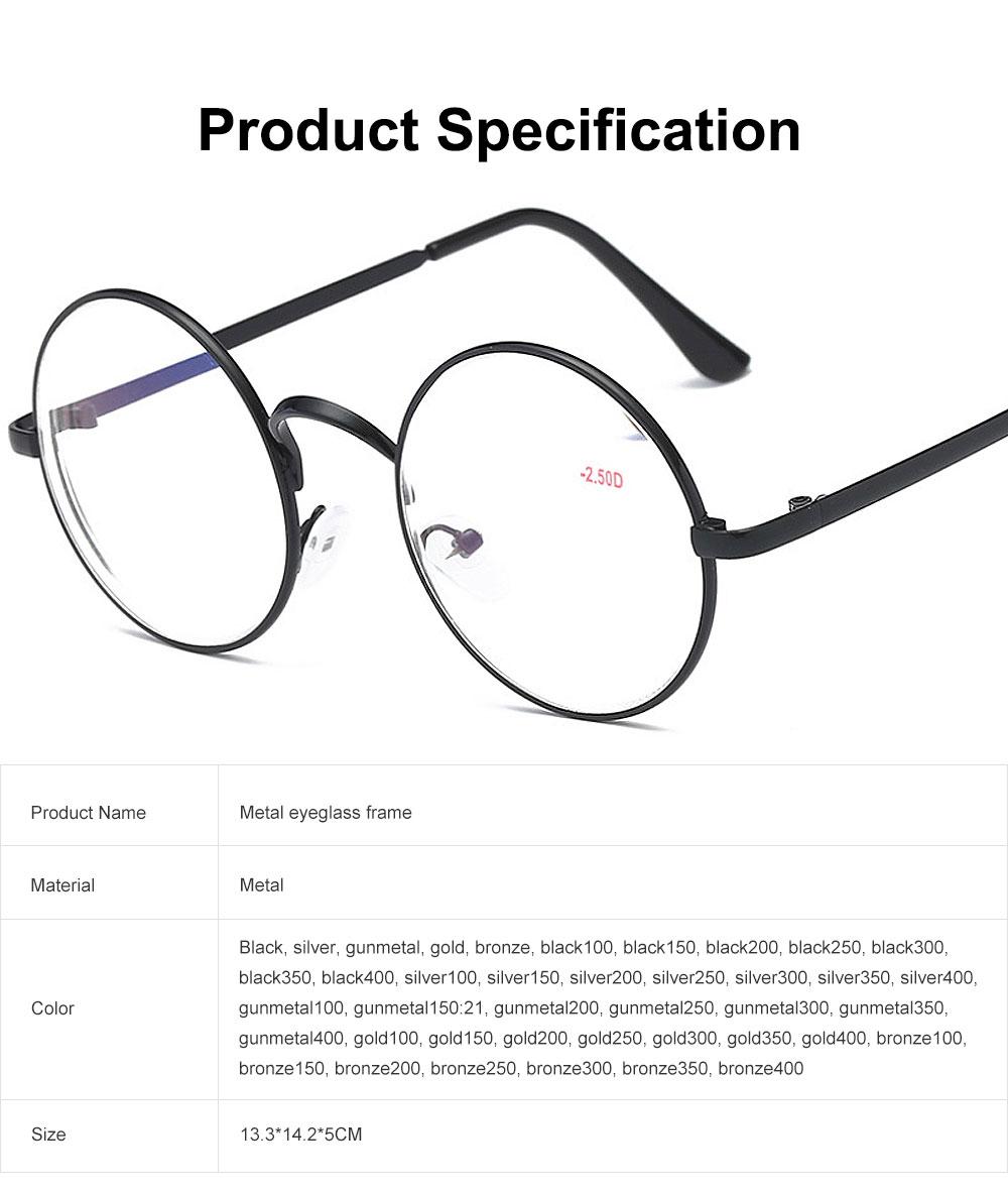 Round Metal Optical Eyewear, Retro Metal Frame Spectacles Frame, Vintage Lightweight Glasses Frame for Men Women 6