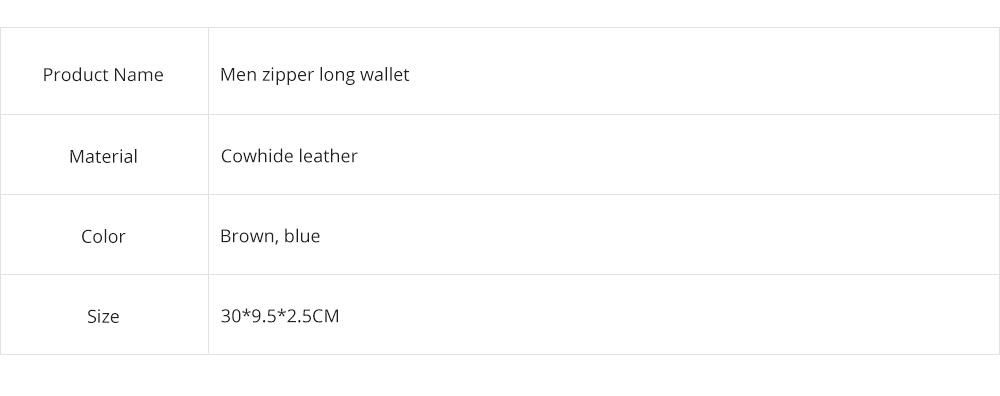 Cowhide Leather Long Wallet with Zipper RFID Blocking, Vintage Bifold Clutch for Men Retro Handbag 8