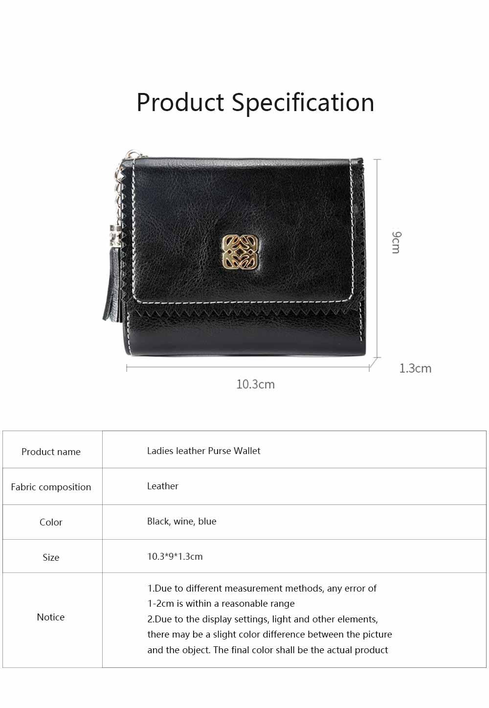 Women Tassel Buckle Purse, Elegant Purse Clutch Portable Mini Pocket Purse, Simple Billfold Purse for Girls 6