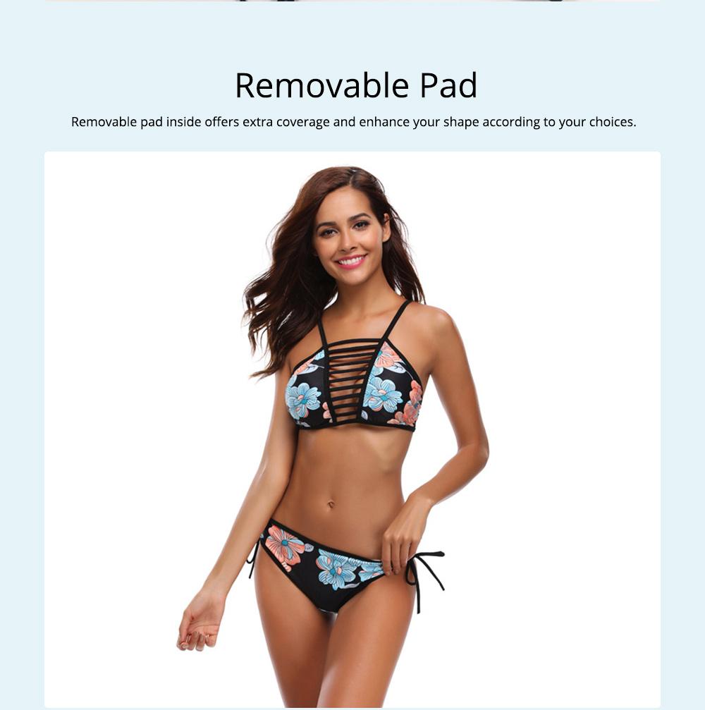 Women Bikini with Retro Halter Neck, Two Piece Swimsuit with Adjustable Bottom Tie Stylish Bikini 3